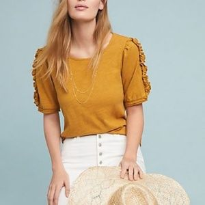 Maeve by Anthropologie gold ruffle short sleeve